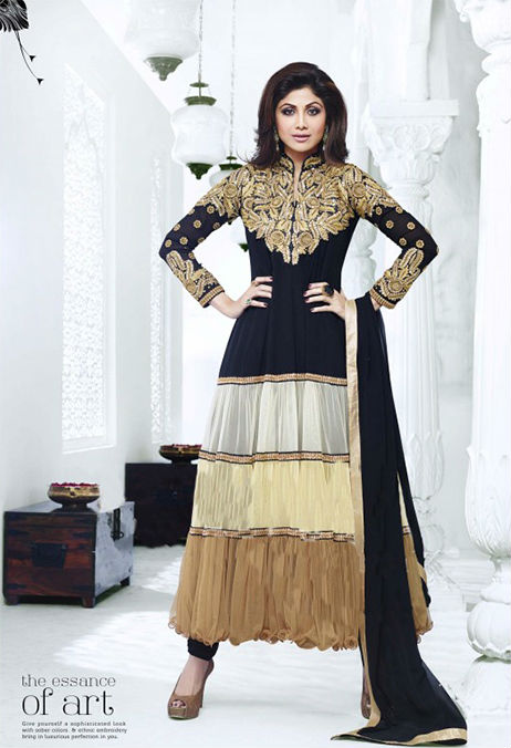 Designer Indian Bollywood Shilpa shetty Black And Golden Shaded Long Length Georgette Anaarkali Suits 1392
