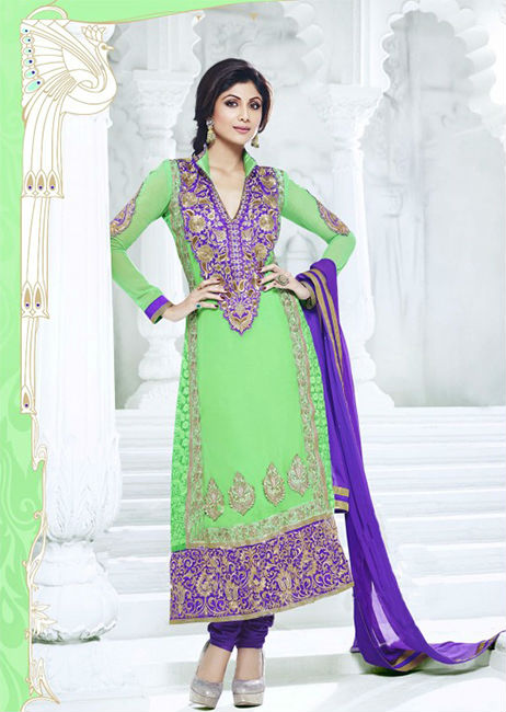 Designer Indian Bollywood Shilpa shetty Parrot And Purple Long Length Georgette Anaarkali Suits 1393