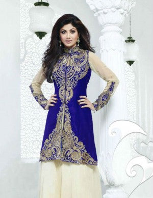 Mesmerize Your Admirers With This Stunning Designer Shilpa Shetty Salwar Kameez. This Long Length Blue and Olive Georgette Salwar Kameez is embroidered with zari work in the center panel and back side of the jacket style. This Bollywood Designer Georgette Salwar Kameez comes with Fabulous Dupatta and Matching Bottom.