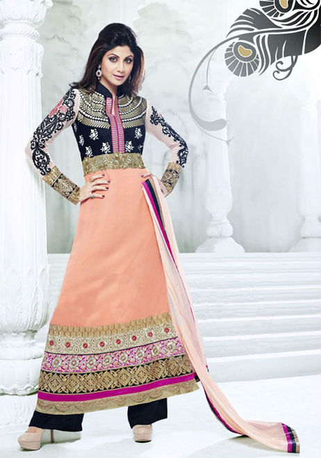 Designer Indian Bollywood Shilpa shetty Black And Orange Long Length Georgette Anaarkali Suits 1397