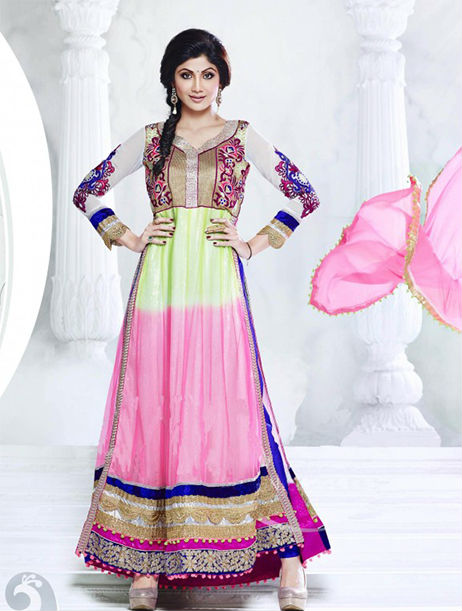 Designer Indian Bollywood Shilpa shetty Pink , Parrot And Blue Shaded Long Length Georgette Anarkali Suits 1399