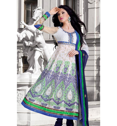 STYLISH PRINTED AND EMBROIDERED CHURIDAR SALWAR KAMEEZ