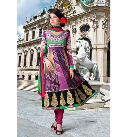 TRENDY PRINTED MULTICOLOR CHURIDAR SALWAR KAMEEZ