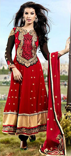 Red Georgette Indian Wedding Designer Anarkali Suit | Stylish Bazaar
