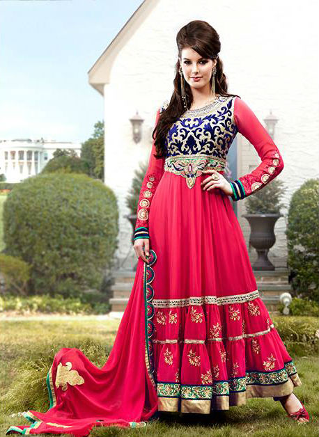 Pink Georgette Indian Wedding Designer Anarkali Suit | Stylish Bazaar