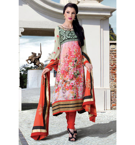 AMAZING PAINTING STYLE PRINTED CHURIDAR SALWAR KAMEEZ WITH DUAPATTA