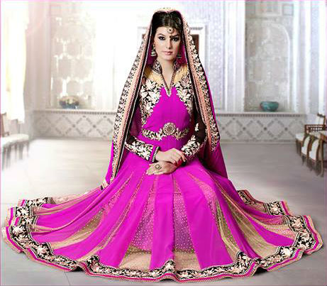 Violet Georgette Indian Wedding Designer Anarkali Suit | Stylish Bazaar