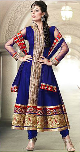 Blue Georgette Indian Wedding Designer Anarkali Suit | Stylish Bazaar