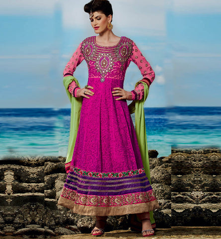 Kimora 6 - 605 EXCITING DARK PINK FLOOR LENGTH ANARKALI KMV6605