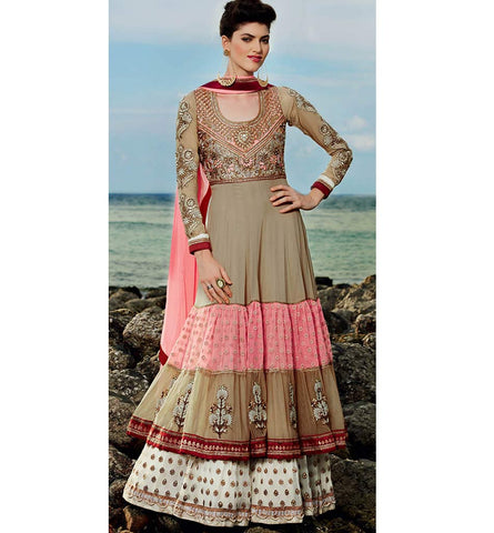 Kimroa 6 - 607 THREE COLOURED FRILL STYLE FLOOR LENGTH ANARKALI KMV6607