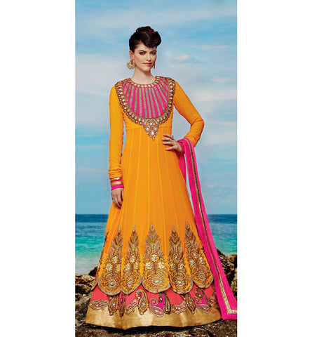 Kimora 6 - 609 DOUBLE LAYERED ORANGE AND PINK FLOOR LENGTH ANARKALI KMV6609