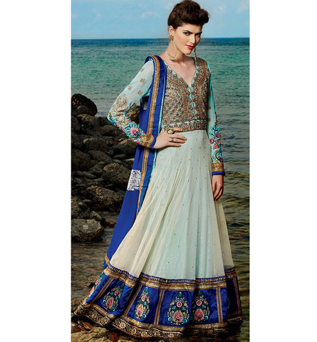 Kimora 6 610 BEAUTIFUL BLUE & CREAM FLOOR LENGTH ANARKALI KMV6610
