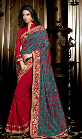 BEAUTIFUL BLUE & MAROON DESIGNER SAREE