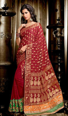 MAGNETIC MAROON WEDDING WEAR SAREE