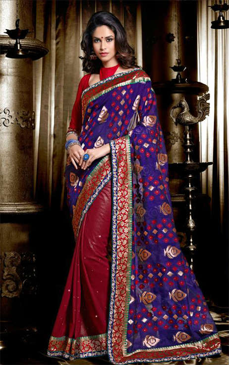 7213A BEWITCHING BLUE & MAROON PARTY WEAR SAREE 1973A
