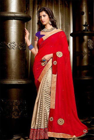 RAVISHING RED WEDDING WEAR SAREE