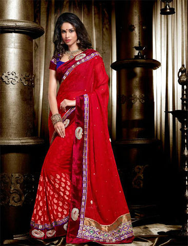 STUNNING MAROON WEDDING WEAR SAREE
