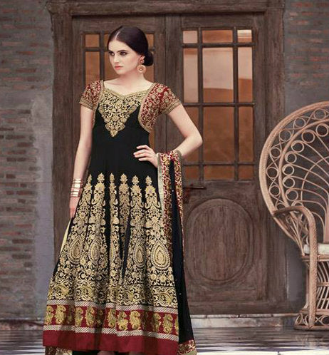 Look more Gorgeous by Draping this Black and Maroon Colour Georgette Designer Anarkali Style Suit with Elegant Embroidery work. The suit is perfectly apt for Parties and Weddings. The Suit comes with matching Bemberg Chiffon Dupatta , Santoon Inner and Santoon Bottom.