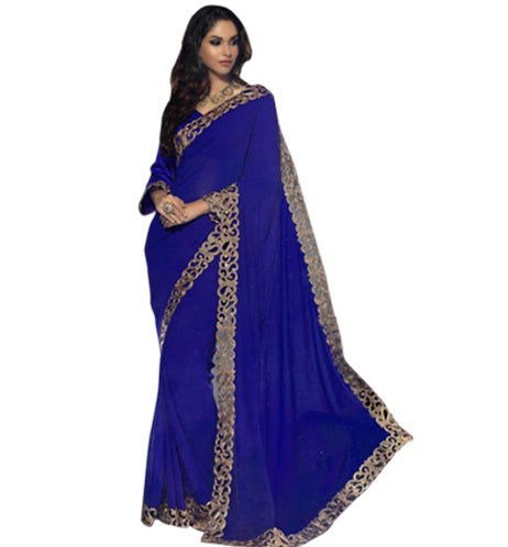 Buy Sarees Online - 7903A BEAUTIFUL BLUE GEORGETTE DESIGNER SARI RTJA7903 - Desinger Indian Saris