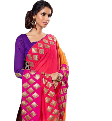 Buy Sarees Online - 7911B LOVELY PINK & ORANGE GEORGETTE DESIGNER SARI RTJA7911 - Designer Indian Sarees