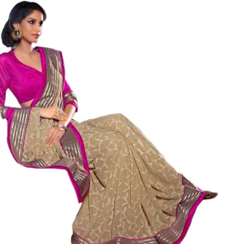 Buy Sarees Online - 7913A CATCHY CREAM BRASSO DESIGNER SARI RTJA7913  - Designer Indian Saris