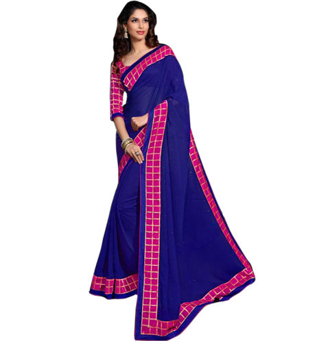 Buy Sarees Online - 7924A BEAUTIFUL BLUE GEORGETTE DESIGNER SARI RTJA7924 - Designer Indian Sarees