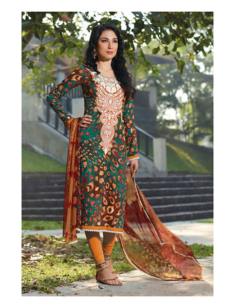 Stun everybody this season with this super comfortable Cotton Digital multicolor Kurta with Ethnic designs in Bold Shades of Peacock Green and Brown. The winters are bidding a good-bye and it's the onset of the great Indian Summers. The Stunning Designer Dress is made of Soft luxurious Cotton for greater comfort. Beautiful White Work is done on the Neck that males it appealing. It is provided with a Striking Shiffon dupatta with a beautiful border and a mustard yellow shantoon bottom.It's a rare combination of Style and Comfort.