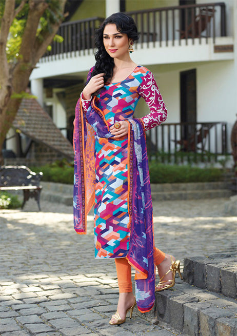 Flaunt your Style Quotient this season with this super comfortable Cotton Digital multicolor Kurta with beautiful Abstract designs in floral and Pastel shades. The winters are bidding a good-bye and its onset of the great Indian Summers. Striking Dark Pink Sleeves with White work makes this dress a stunner. This Stunning Designer suit is made of Soft luxurious Cotton for greater comfort. It is provided with a Striking multicolor Shiffon dupatta and a Saffron Color shantoon bottom. It's a rare combination of Style and Comfort.