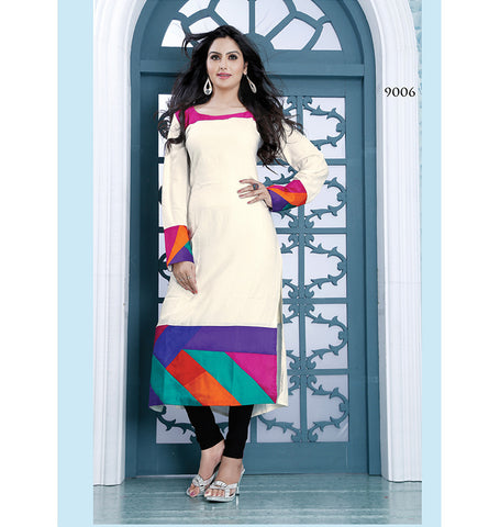 9006 AYESHA WONDERFUL WHITE DESIGNER COTTON LONG KURTI CFAK9006