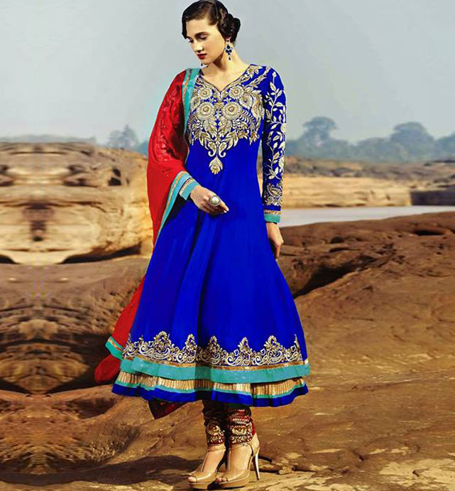 9006a EYE-CATCHING BLUE COLOR GEORGETTE ANARKALI SUIT RMRT9006
