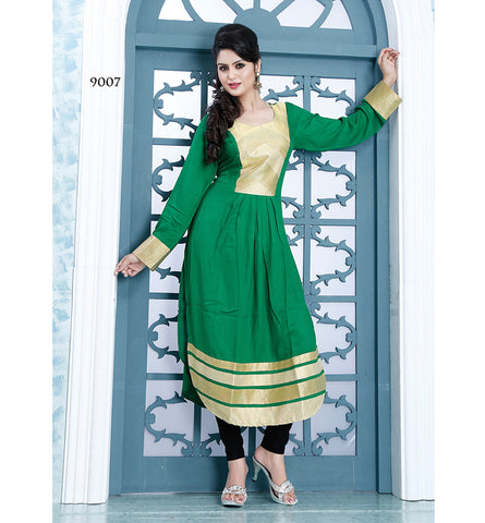 9007 AYESHA GORGEOUS GREEN DESIGNER COTTON LONG KURTI CFAK9007