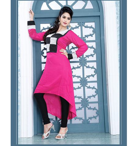 9008 AYESHA PEPPY PINK COLOR DESIGNER COTTON LONG KURTI CFAK9008