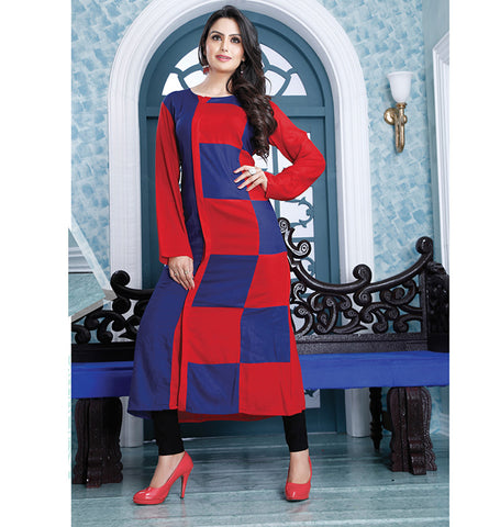 9009 AYESHA EYE-CATCHING RED & BLUE DESIGNER COTTON LONG KURTI CFAK9009