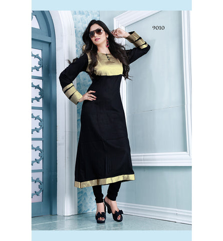 9010 AYESHA BEWITCHING BLACK DESIGNER COTTON LONG KURTI CFAK9010