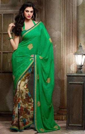 AMAZING GREEN PRINTED DESIGNER SAREE 1520