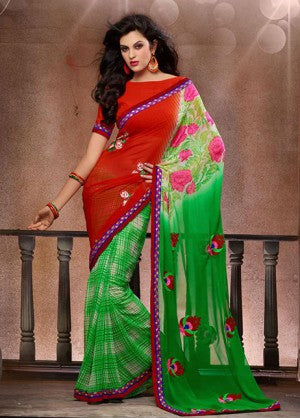 ATTRACTIVE FLORAL PRINTED DESIGNER SAREE