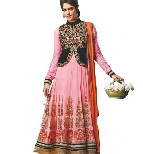 BEAUTIFUL PINK JACKET LOOK ANARKALI DRESS MJDS11A