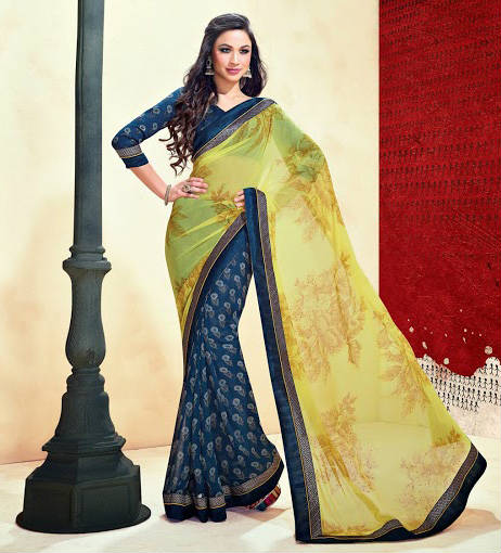 BEWITCHING BLUE & YELLOW  JAI HO GEORGETTE SAREE