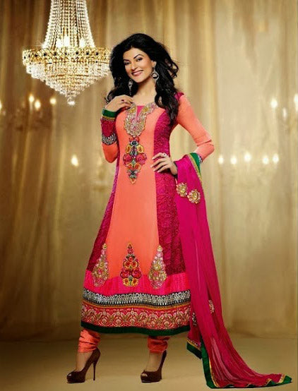 Sushmita Sen is no doubt a Bollywood fashion diva & a style icon. Get this designer Sushmita sen full length Anarakali dress to make a lasting impression on the Onlooker. Peach & Rani colour Georgette Dress with embroidery and Diamond work with a Santoon churidar and a Chiffon Dupatta.