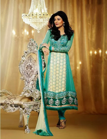 Sushmita Sen is no doubt a Bollywood fashion diva & a style icon. Get this designer Sushmita sen full length desiger Salwar Kameez dress to make a lasting impression on the Onlooker. Outstanding Brows Sea Green & Cream Georgette Dress with Resham embroidery and Heavy Floral border with a Santoon churidar and a Designer Chiffon Dupatta.