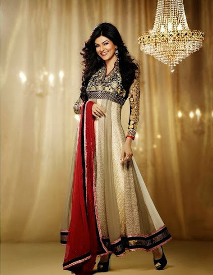 Sushmita Sen designer Floor lenght anarkali dress.