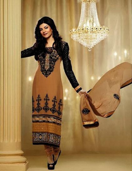 Sushmita Sen is no doubt a Bollywood fashion diva & a style icon. Get this designer Sushmita sen full length churidar dress to make a lasting impression on the Onlooker. Chikoo & Black Color Georgette Dress with embroidery and Heavy layered Border work with a Santoon churidar and a Chiffon Dupatta.