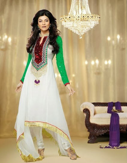 Sushmita Sen is no doubt a Bollywood fashion diva & a style icon. Get this designer Sushmita sen full length desiger Salwar Kameez dress to make a lasting impression on the Onlooker. Outstanding white & Green Color Georgette Dress with Resham, Embroidery and Zari work with a Santoon churidar and a Designer Chiffon Dupatta.