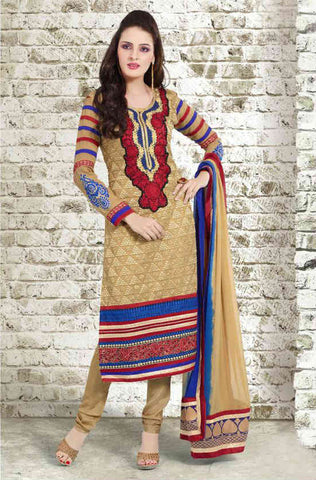 Cream long salwar kameez for women with churidar salwar and dupatta.