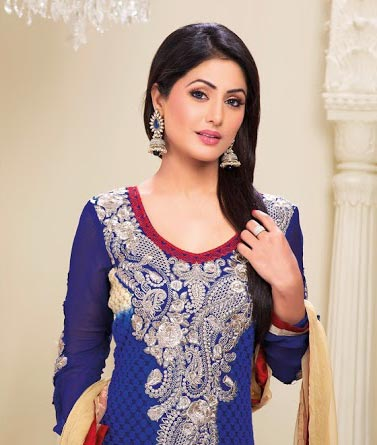 Be the showstopper with this stunning Hina Khan Salwar kameez line-up. This gorgeous dress is created from Royal Blue Georgette material. Beautiful Embroidery work is done on the neck and the sleeves. Stylish Lace work is done around the bottom. Stunning Royal Blue churidar and a shaded dupatta completes the look.