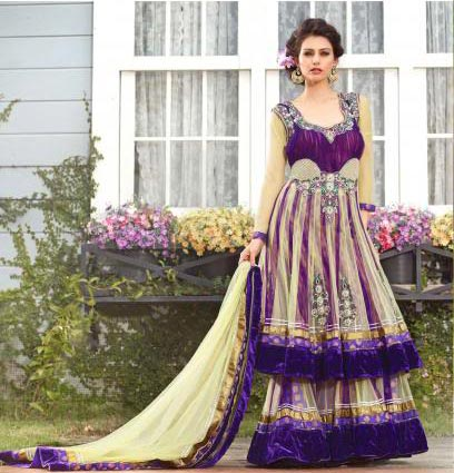 Be at your best this marriage season with this fresh look bridal and wedding collection. This Bridal lehenga choli is made from Cream & Violet color Net & Brocade material. Fresh new colors add a new look to this lehenga choli. This 3 piece set is embellished with Zari, resham embroidery & velvet patch border . A designer bordered dupatta completes the look.