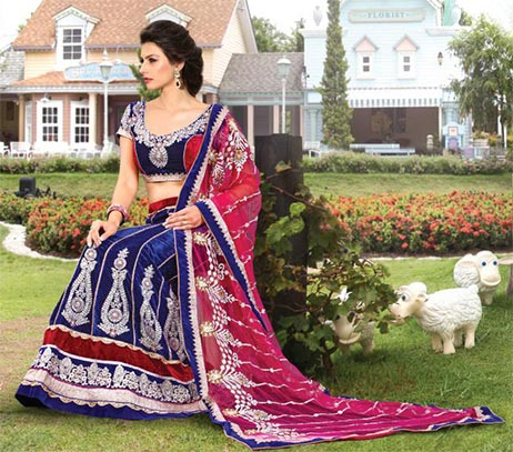 Be at your best this marriage season with this fresh look bridal and wedding collection. This Bridal lehenga choli is made from Royal Blue Color Velvet material. Fresh new color combination adds a new look to this lehenga choli. This 3 piece set is embellished with Zari, resham embroidery & a patch border. A heavy designer and embellished dupatta with border completes the look.