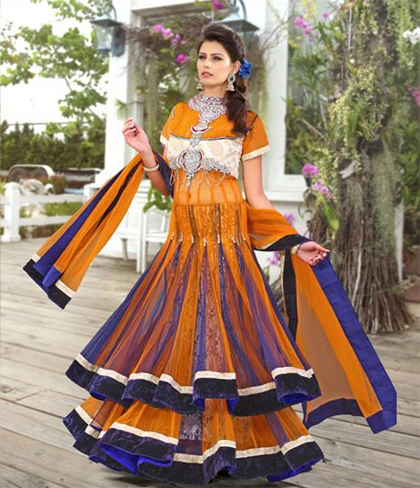 Be at your best this marriage season with this fresh look bridal and wedding collection. This Bridal lehenga choli is made from Rich Orange & Dark Blue Shaded Net & Brasso material. Fresh new colors add a new look to this lehenga choli. This 3 piece set is embellished with Zari, resham embroidery & velvet patch border . A designer bordered dupatta completes the look.
