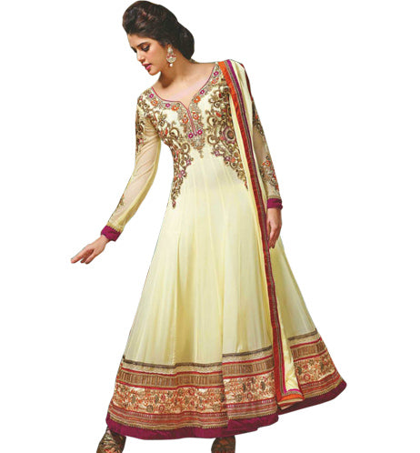 DESIRABLE CREAM GEORGETTE SALWAR KAMEEZ MJDS9A
