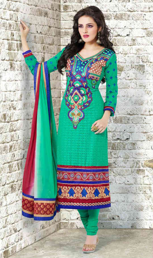 Get a guaranteed second look with this striking green color georgette designer churidar dress. To make this salwar kameez suit more attractive zari, resham embroidery and patch patta work is done on it. Beautiful green color santoon churidar, shaded maroon & green color chiffon dupatta and santoon inner material completes this exquisite dress.